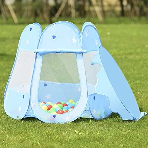 COSTWAY Kids Princess Play Tent Playhouse w/ 100 Ocean Balls - Blue by COSTWAY