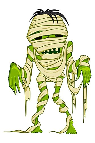 Vector Illustration of Scary Halloween Mummy with Bandage Wall Decal - 30 Inches H x 20 Inches W - Peel and Stick Removable Graphic