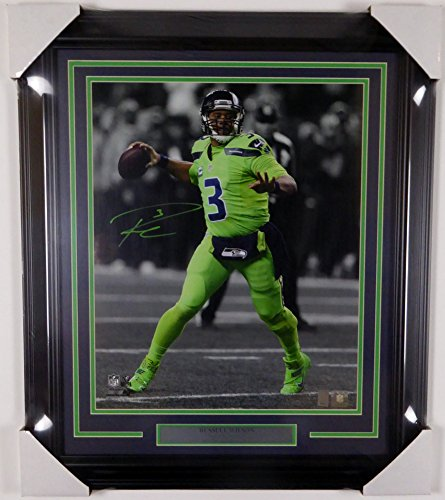 Hawk Signed Green (Russell Wilson Signed Autograph Framed 16x20 Photo Seattle Seahawks Action Green Color Rush RW Holo - Certified Certified125703)