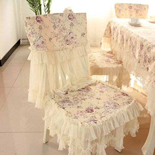 Country style lace purple grace floral design chair back cover and chair cushion cover