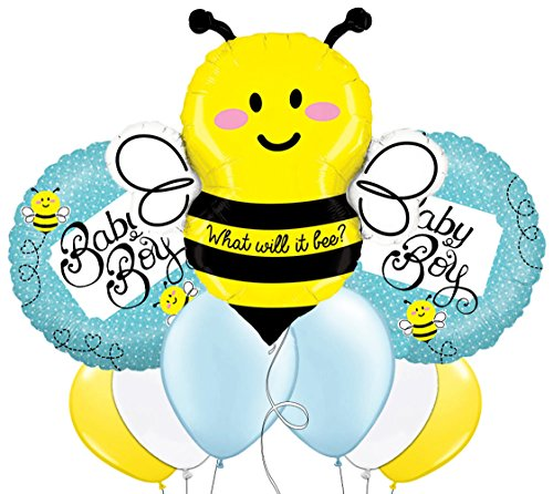 (Custom, Fun & Cool 9 Pack of Helium & Air Inflatable Mylar/Latex Balloons w/ What Will It Bee Baby Boy Bumble Bee Polka Dot Design [Variety Assorted Multicolor in Pink Blue Yellow Black Gray & White])