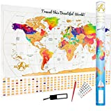 "Premium Scratch Off World Map -""Rainbow Water Colours Edition"" w Outlined Canadian Provinces & US States - Perfect Gift 5 PCS Bundle - The Ultimate Travel Large Size Poster w Canada & Gold Flags"