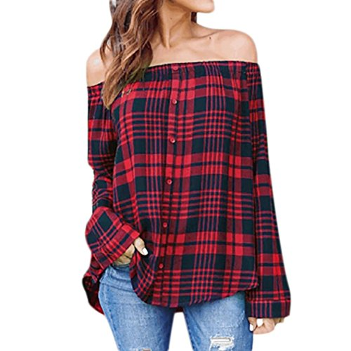FEITONG Women's Off Shoulder Plaid Tops Long Sleeve Shirt Casual Blouse Loose T-Shirt(X-Large,Red)