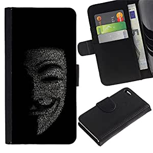iKiki Tech / Cartera Funda Carcasa - Mask Anonymous Hacker Code Tech Robot - Apple iPhone 4 / 4S
