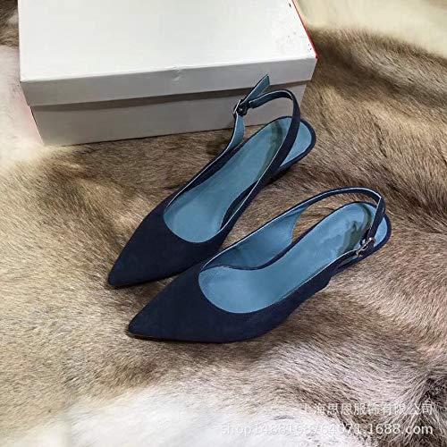 Yukun zapatos de tacón alto Zapatos De Mujer De Tacón Alto De Otoño Baotou De Mujer De Tacón Alto Blue