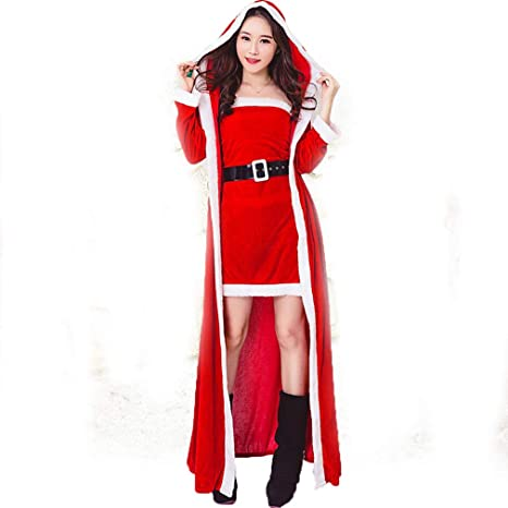 DUBAOBAO Falda de Traje Rojo de Santa + Capa, Traje de Santa ...