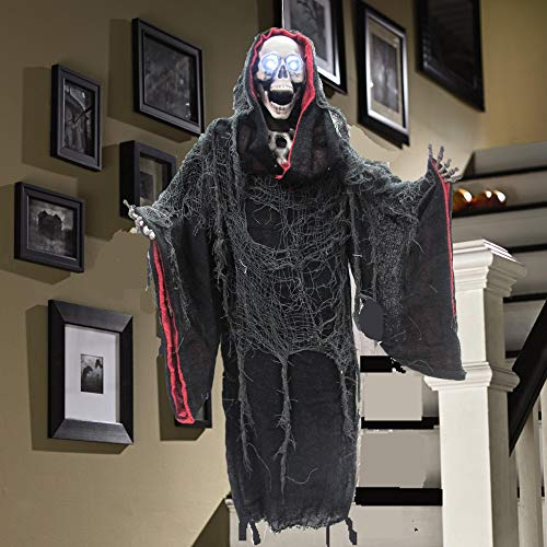 Animated Moving Talking Reaper Skull Prop ~ Haunting Scary Sound Effects and Phrases ~ Sensor ~ Motion ~ Led Lights/Animatronic