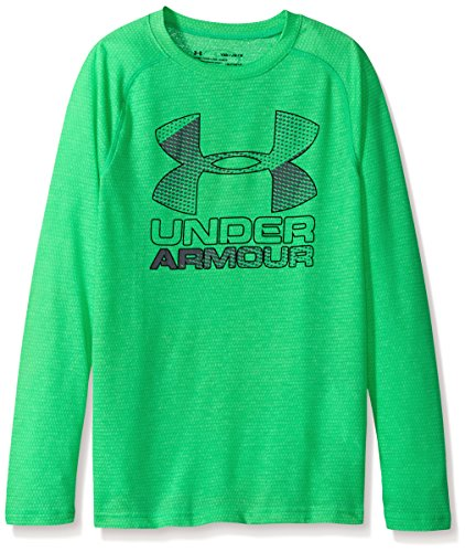 Lime Twist (Under Armour Boys' Hybrid Big Logo Long Sleeve T-Shirt,Lime Twist (974)/Black, Youth X-Large)