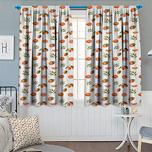 """Chaneyhouse Burnt Orange Patterned Drape for Glass Door Watercolor Orange and Tangerine Fruits with Leaves on Polka Dots Waterproof Window Curtain 55"""" W x 63"""" L Burnt Orange Fern Green"""