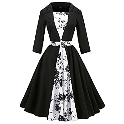 Wholesale LaceLady Women's 50s Vintage Long Sleeves Swing Parry Cocktail Dress With Belt Black Floral for sale