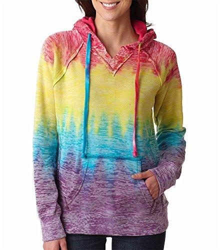 MV Sport W1162 Women's Courtney Burnout V-Notch Sweatshirt Rainbow Stripe XL
