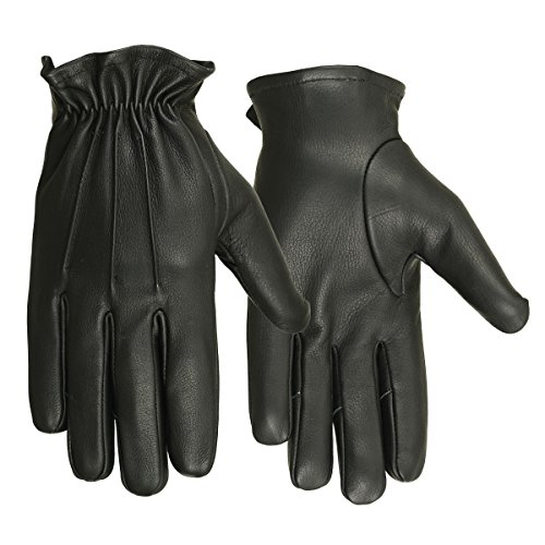 Hugger Men's Deerskin Water Resistant Leather Short Glove for Driving, Motorcycle Riding (Large, Black) by Hugger Glove Company
