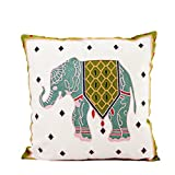 Monkeysell Wool Hand-embroidered ,Thickened by pillowcase fabric Elephant pattern Phoenix design Cotton art Throw Pillow Cover for Bed Sofa Decorative 45x45cm(18x18inch) (Yellow Elephant)