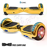 NHT Hoverboard - All Terrain Rugged 8.5 Inch Wheels Off-Road Electric Smart Self Balancing Scooter with Built-in Bluetooth Speaker LED Lights - UL2272 Certified (Chrome Gold)