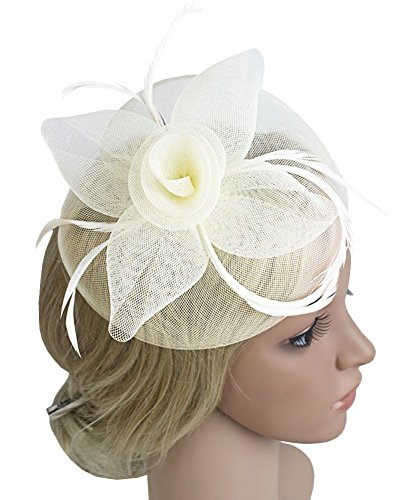 Urban CoCo Women's Vintage Flower Feather Mesh Net Fascinator Hair Clip Hat Party Wedding (Urban Hats)