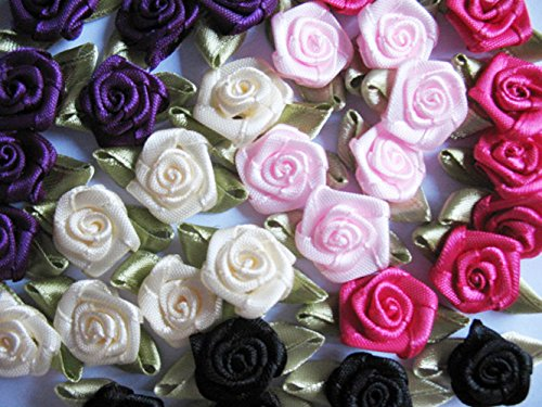 YYCRAFT Pack Of 100 pcs Satin Ribbon Rose w/Leaf Wedding for sale  Delivered anywhere in USA