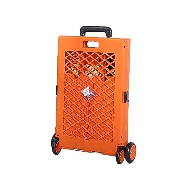 Carretilla Para Equipaje, Carrito Plegable Portátil Carrito De Compras Equipaje Carro De La Casa Caja De Almacenamiento G2 (Color : Orange): Amazon.es: ...