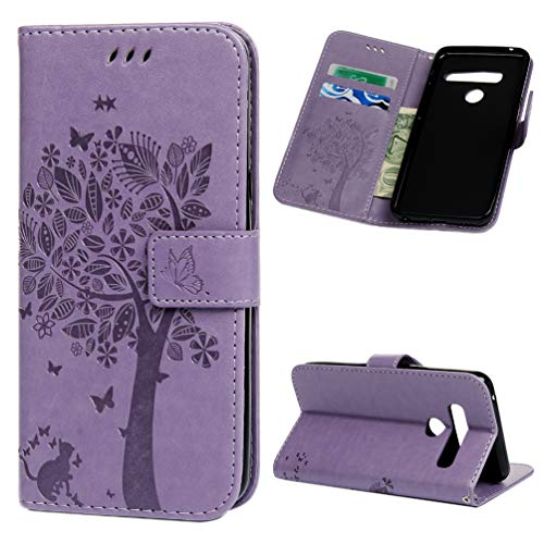 LG G8 ThinQ Case Wallet Case PU Leather Case Tree Embossed Symmetrical Cover Card Slot Kickstand Magnetic Closure Shockproof Anti Scratch Bumper Protective Cover