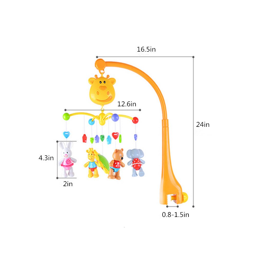 Musical Crib Mobile Baby Toys - Infant Rattles Nursery Bed Bell Toys with Hanging Rotating Cute Animals and Timing Shutdown Function