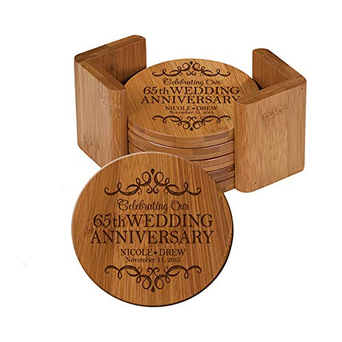 (LifeSong Milestones Personalized 65th Anniversary Solid Round Bamboo Coaster 6 Piece Set For Drinks With Holder -Wedding Keepsake Gift for Parents Husband Wife Him Her 3.75