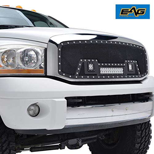EAG Cutout Rivet Black Stainless Steel Wire Mesh Grille with 3 LED Lights Fit for 06-08 Dodge Ram 1500/07-09 Dodge Ram 2500/3500 1PC