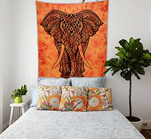 ENN ELL ENTERPRISES Hippie Boho Intricate Elephant In The Sun Indian Bedspread Elephant Tapestry, 84X54 Inches, Orange