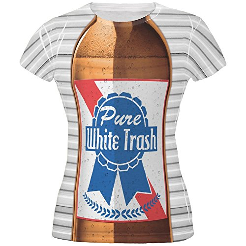 [4th of July Halloween Pure White Trash Beer Costume All Over Juniors T Shirt Multi X-LG] (White Trash Lady Costume)