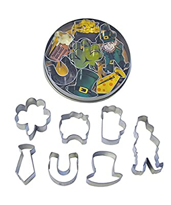 R&M International 1984 Mini St. Patrick's Day Irish Cookie Cutters, Leprechaun, Shamrock, Pot of Gold, Mug, Horseshoe, Tie, Derby, 7-Piece Set