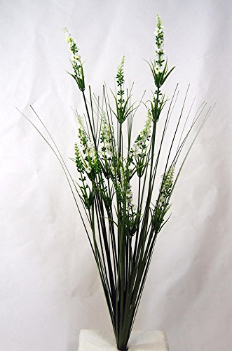 (Factory Direct Craft Artificial White Lavender and Onion Grass Bush | for Indoor)