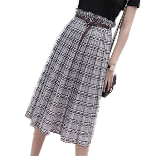 Price comparison product image JIANGTAOLANG New Womens Plaid Ruffles Elastic Waist Pleated Long Maxi with Belt England Skirts Black White L
