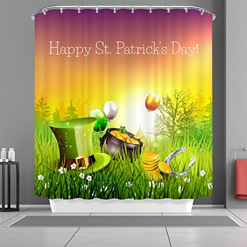 VANCAR Happy St. Patrick's Day Bath Shower Curtain Waterproof Polyester Fabric Bathroom Shower Curtain for Saint Patrick's Day
