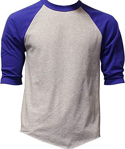 Casual Raglan Tee 3/4 Sleeve Tee Shirt Jersey ,Heather Gray / Royal Blue ,XXX-Large
