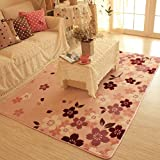 MeMoreCool Top Grade Beautiful Sakura Pattern Rectangle Modern Flannel Pink and Multi Area Rugs for Living Room/Bedroom,Ultra Soft Decorative Bedside Rugs,79X59Inch