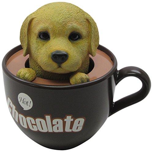 Idea Max Peek-A-Pet Bobble Heads Hot Chocolate Labrador Retriever (Tea Cup) -