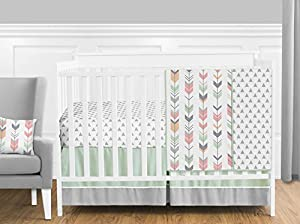 Grey, Coral and Mint Woodland Arrow 4 Piece Girls Crib Bed Bedding Set