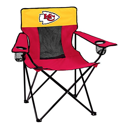 Logo Brands NFL Kansas City Chiefs  Folding Elite Chair with Mesh Back and Carry Bag ,  Red,  One Size