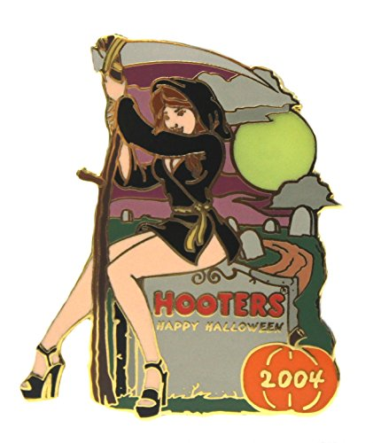 Hooters Restaurant Happy Halloween Grim Reaper Witch Girl Lapel Pin ()