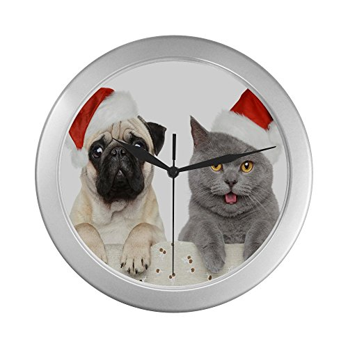 Christmas Pug and Christmas Kitty Unique Silver Elegant Decorative Living Room Clock