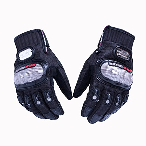 OLSUS Skid-Proof Full Finger Motorcycle Racing Gloves- Black (Pair/Size XL)