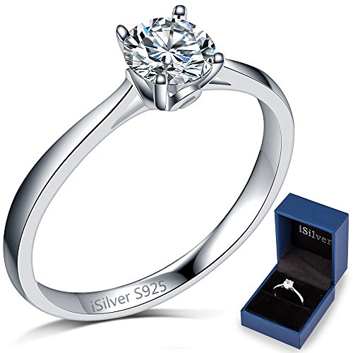 Solitaire Engagement Wedding Ring (iSilver Classical Solitaire Ring 925 Sterling Silver Wedding Engagement Propose (9))