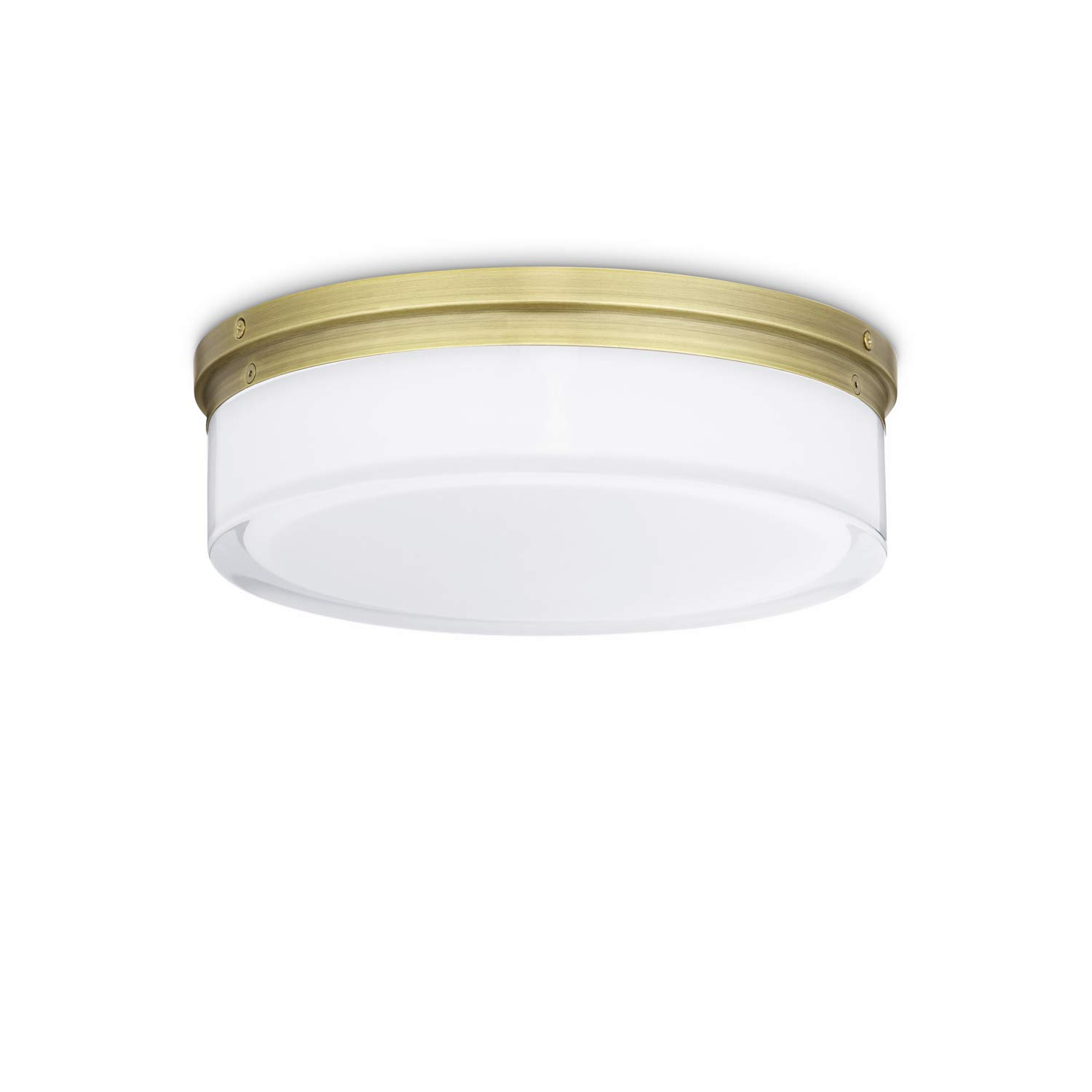 Brass flush mount ceiling light 11 inch glass led round fixture dimmable damp located for vanity bathroom bedroom kitchen living room