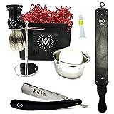 Cut throat Straight Razor Zeva Gift Set for Men Shave Ready with Pure Badger Bristle Shaving Brush Mug Soap Leather Honing Strop Dovo Paste Solingen