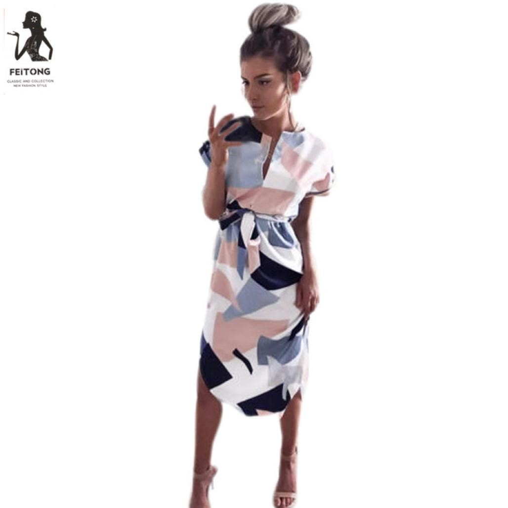 Kleid Damen,Binggong Frauen Mode Quadratisches Muster Kurzarm Partei ...