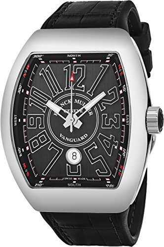 Franck Muller Vanguard Automatic Watch - Tonneau Analog Black Face Mens Watch with Luminous Hands, Date and Sapphire Crystal - Black Band Swiss Made Luxury Automatic Watch for Men V 45 SC DT AC NR (Tonneau Automatic Watch)