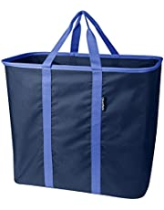 Save big on CleverMade SnapBasket LaundryCaddy/CarryAll XL Pop-Up Hamper: Collapsible Laundry Basket/Tote Bag, Regatta Blue/Blue Depths