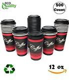 Restaurant Grade 12 Oz Paper Coffee Cups with Black Dome Lids - 500 Count By EcoQuality Disposable Cups For Hot and Cold Drinks. Great For Tea, Soda, Shops, Cafes, and Concession Stands.