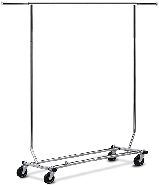 Heavy Duty Commercial Garment Rack Rolling  Collapsible Clothing Shelf w// Wheels