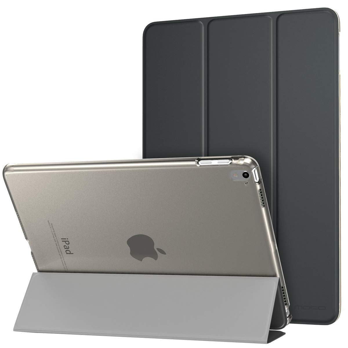 MoKo Case for iPad Pro 9.7 - Slim Lightweight Smart Shell Stand Cover with Translucent Frosted Back Protector for Apple iPad Pro 9.7 inch 2016 Release Tablet, Space Gray (with Auto Wake/Sleep)
