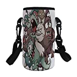 Small Water Bottle Sleeve Neoprene Bottle Cover,Kids,Cute Monsters Reunioun Fictional Scary Fun Characters Humor Graphic,Umber Cream Reseda Green,Great for Stainless Steel and Plastic/Glass Bottles, S