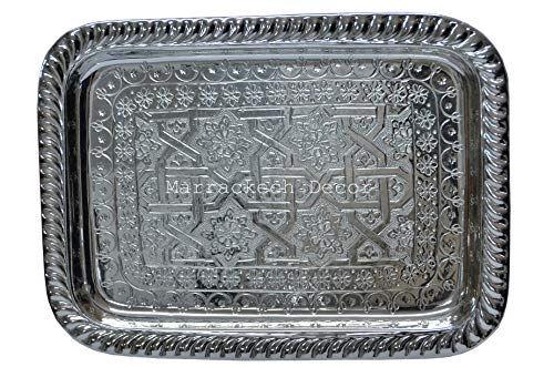 16 Inch Rectangular Moroccan Handmade Serving Tea Tray Silver Plated Brass Handcrafted Plate in Fez Morocco ()